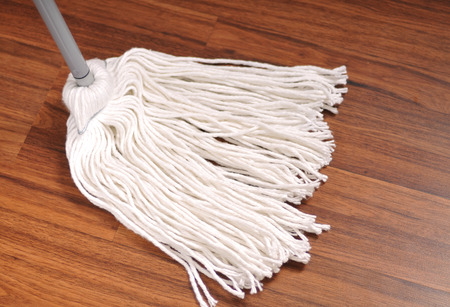 Cleaning service, mop for cleaning wooden floor from dust