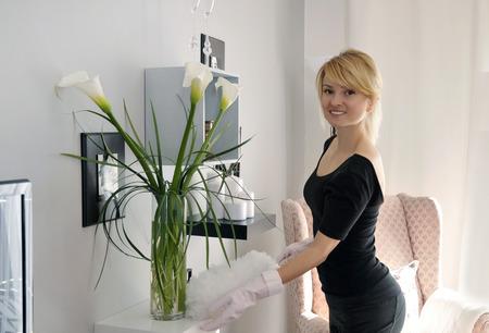 Cleaning in house woman doing dust, on shelf flowers Zdjęcie Seryjne