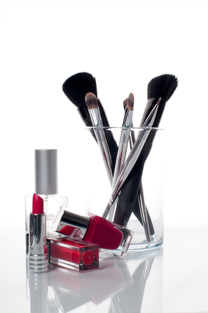 in vain: Makeup brush and cosmetics, lipstick, brush and nail polish, tools for make-up