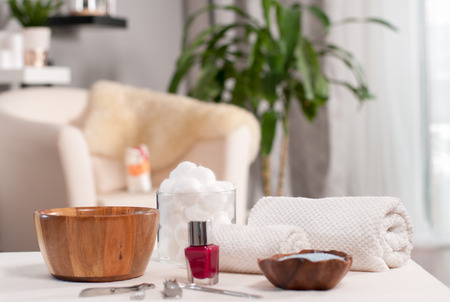 Relaxing day at beauty salon. Hand care in the spa. 版權商用圖片