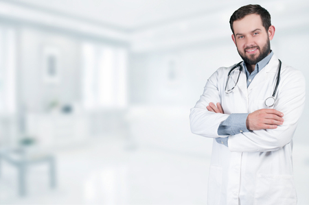 Medical doctor with stethoscope around his neck