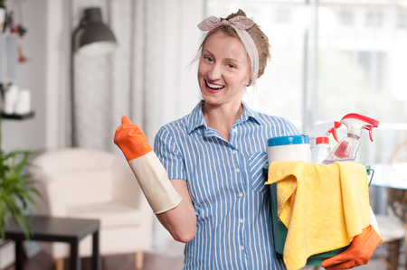 Cleaning woman with bucket of cleaning supplies Zdjęcie Seryjne - 79461039