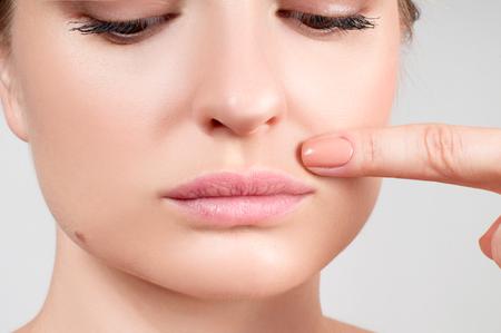 Beauty face, lipcare. Female beautiful natural lips