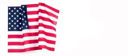 United States flag. American symbol. USA flag on white background. Independence day.