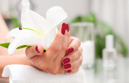 womans hand: Manicure concept. Hand care at the spa. Beautiful womans hands with perfect manicure at  beauty salon. Stock Photo
