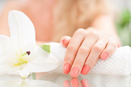 Concetto di manicure. Cura della mano presso il centro benessere. Mano bella donna con manicure perfetta al salone di bellezza.