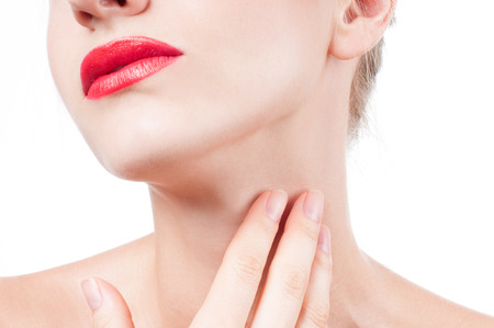 Beautiful woman neck. Anti-aging treatment and face lift