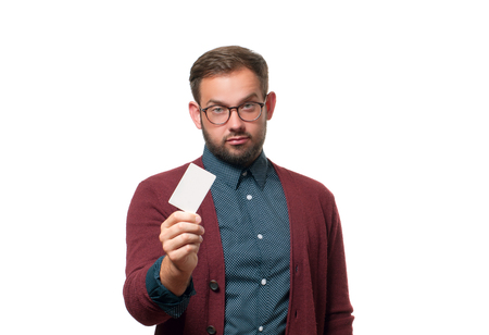Business man holding business card