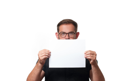 Business man showing empty paper card sign with copy space for text.