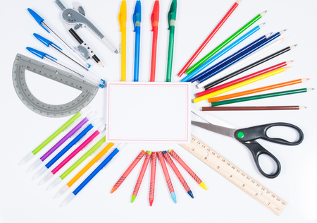 parer: School supplies on white background. Back to school Stock Photo