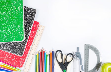 School supplies on white background. Back to school Stock Photo