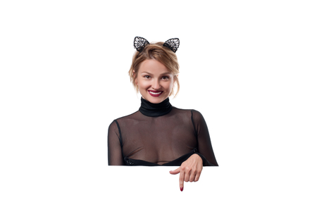 Beautiful woman with carnival cat ears. Halloween concept Stock Photo