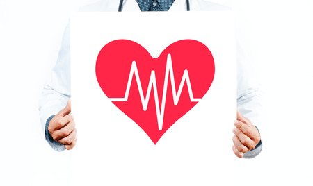 Male Doctor with heart shape symbol. Medicine Concept