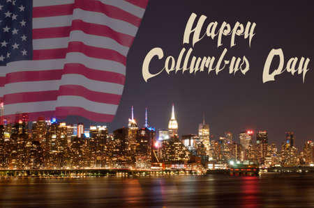Happy Columbus Day. New York City and United States flag
