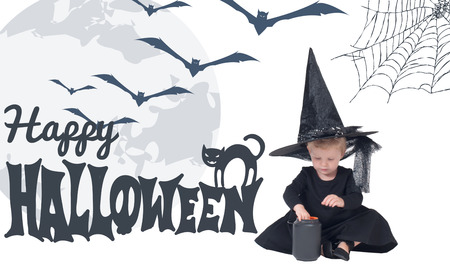 Halloween.  Funny child girl in witch costume for Halloween 免版税图像