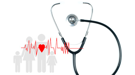 Medical stethoscope and red heart with cardiogram on white background. Health Insurance Concepts Stock Photo