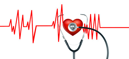Medical stethoscope and red heart with cardiogram on white background. Health Concepts