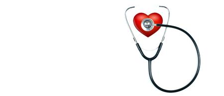Medizinisches Stethoskop und rotes Herz auf weißem Hintergrund