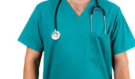 doctoring: Male Doctor with stethoscope. Healthcare, Medical Concept Stock Photo