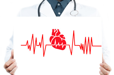 Male Doctor is showing heart. Medicine Concept