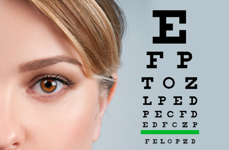 Close up image of an eye and vision test chart 스톡 콘텐츠