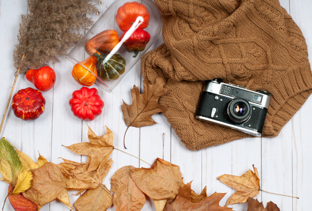 Autumn accessories for women with fall leaves. Fashion clothes. Holidays shopping
