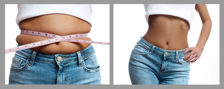 Female body before and after weight loss, diet concept. Woman is measuring waist