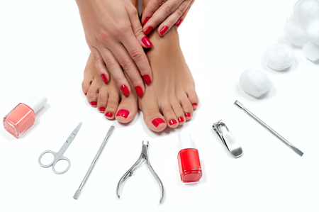 Foot care treatment and nail. Beautiful female feet at spa salon on pedicure procedure