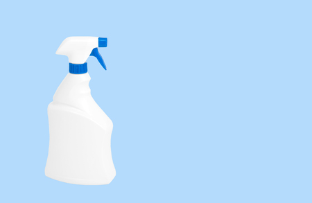 White plastic bottle, detergent cleaners on a pastel blue background.
