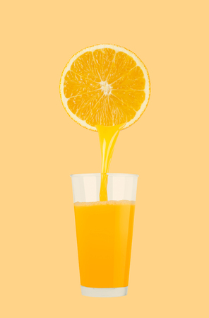 Glass of fresh orange juice on pastel yellow background