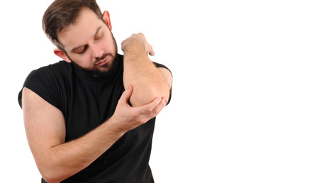 Arm pain. Man with pain in elbow.