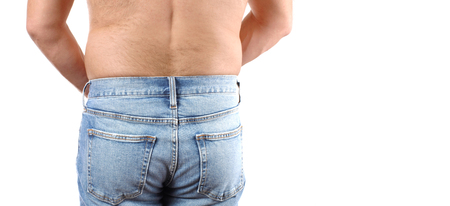 Overweight man in jeans and fat on hips and waist