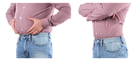 Man Before and after weigh loss. Overweight  fat belly Banco de Imagens - 100082230