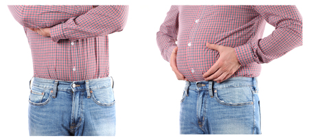 Man Before and after weigh loss. Overweight  fat belly Banco de Imagens - 100082232