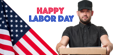 Happy Labor Day. USA flag. Delivery man with parcel on white background