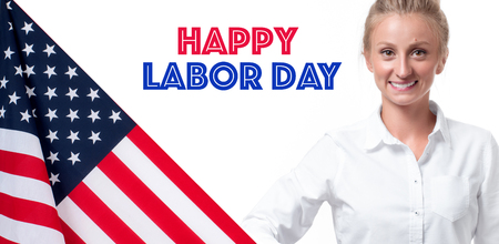 Happy Labor Day. USA flag and business woman on white background Stock Photo