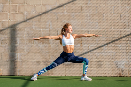 Healthy lifestyle and yoga concepts. Fitness woman in sportswear is doing exercise on the wall