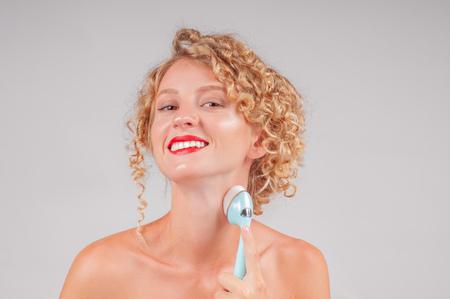 Neck. Perfect fresh clean skin concept. Beautiful woman washing her body