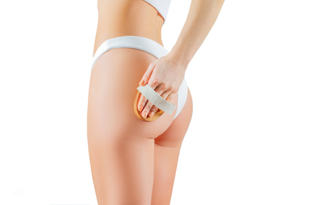 Anti cellulite treatment. Perfect female buttocks in underwear. Woman make anti cellulite massage