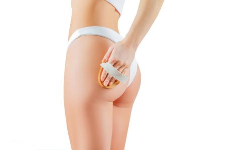 Anti cellulite treatment. Perfect female in underwear. Woman make anti cellulite massage
