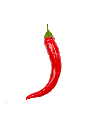 Fresh red chili pepper on white background