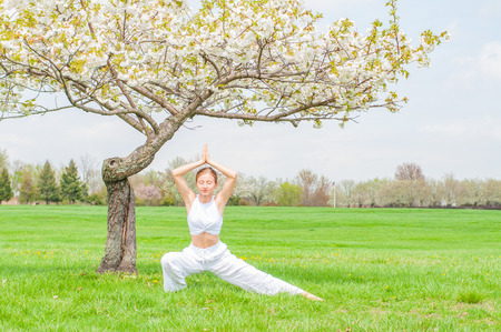 Beautiful young woman is practicing yoga near blossom tree at the park. Meditation concept