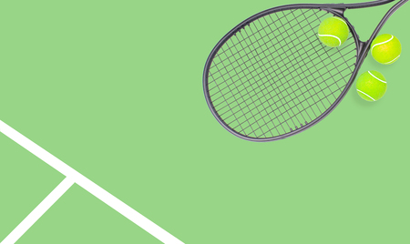 Tennis racket and ball sports on pastel green background