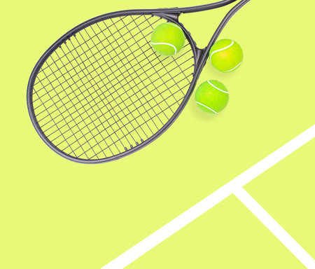 Tennis racket and ball sports on pastel yellow background 版權商用圖片