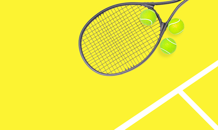Tennis racket and ball sports on pastel yellow background Stock fotó