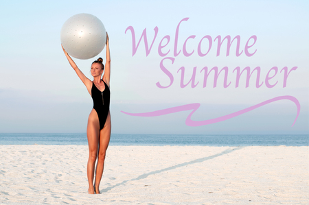 Welcome Summer. Fitness woman with fit ball on beach outdoors. Fitness girl in one piece swimsuit work out with pilates ball at seaside