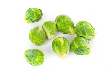Fresh vegetable, cabbage. Brussels sprouts on a white background
