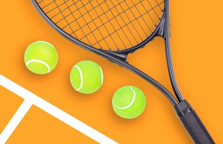 Tennis racket and ball sports on pastel background Stock Photo