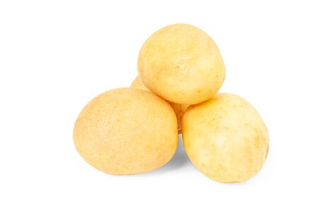 Fresh potato. Raw potatoes on white background Stock Photo