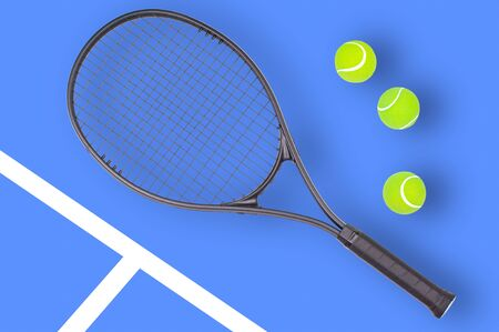Tennis racket and ball sports on pastel blue background